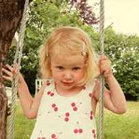 Pinafore dress with cherries